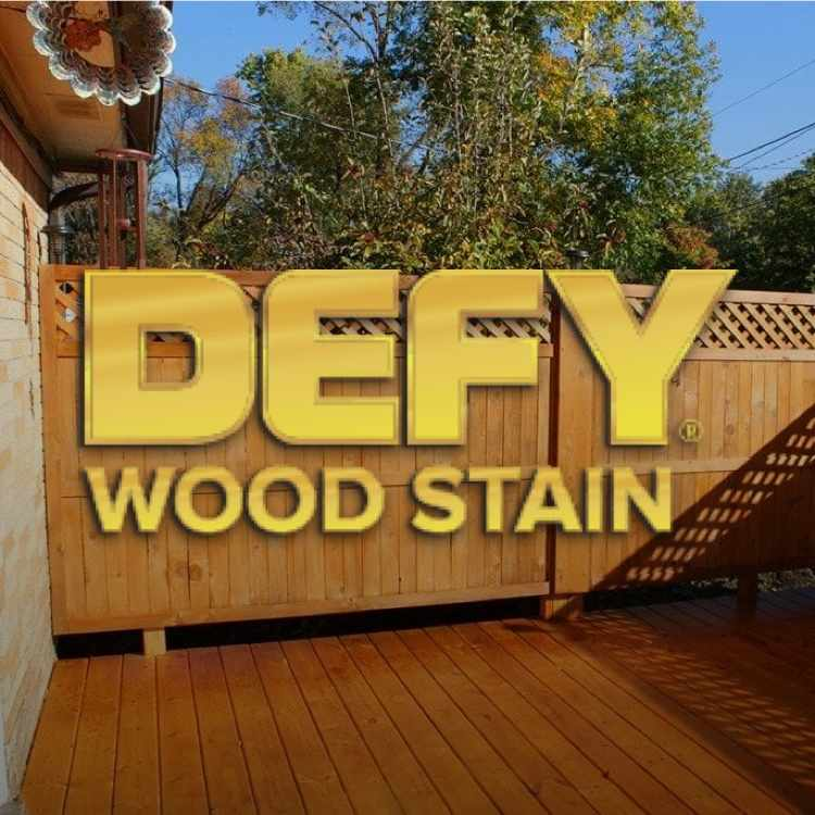 Defy Wood Stain logo with deck