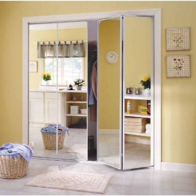 Erias Series 4400 24 In. W. x 80-1/2 In. H. Steel Frame Mirrored White Bifold Door