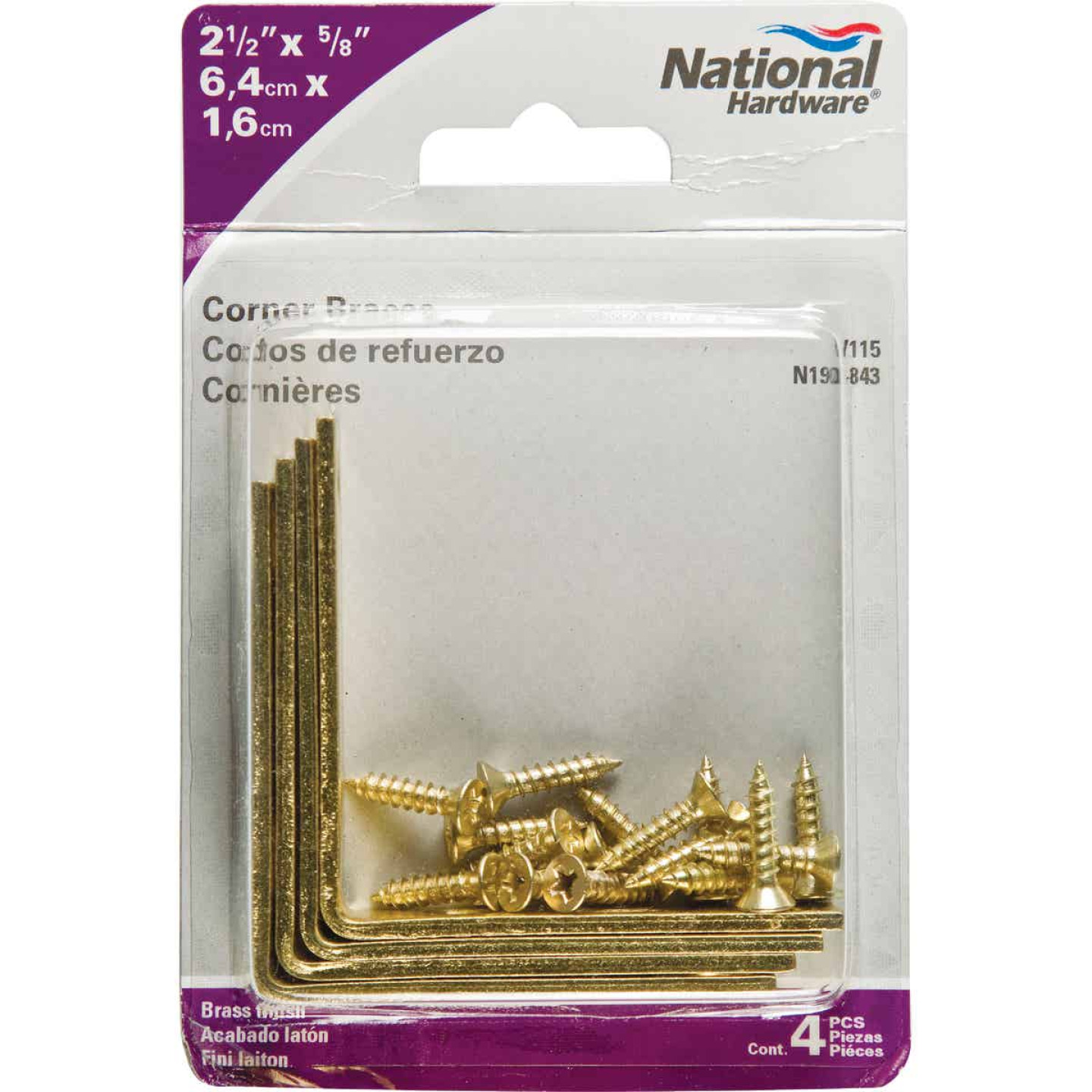 National Catalog V115 2-1/2 In. x 5/8 In. Brass Steel Corner Brace (4-Count) Image 2