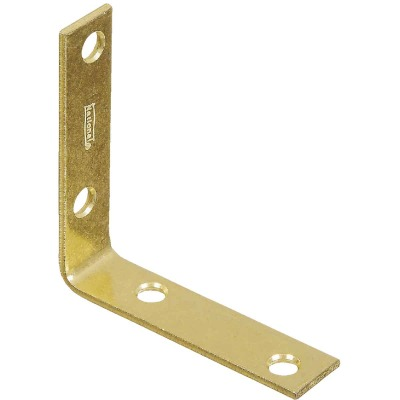 National Catalog V115 3 In. x 3/4 In. Brass Steel Corner Brace (4-Count)
