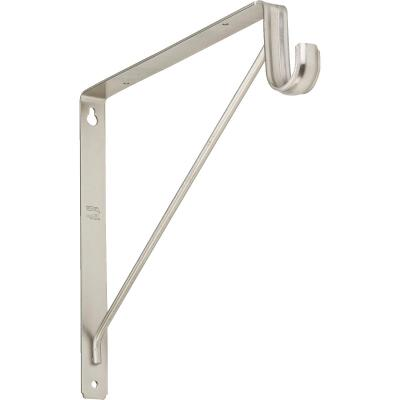Stanley Home Designs 12-5/8 In. H. x 11 In. D. Shelf & Rod Bracket, Satin Nickel