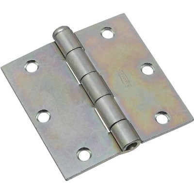 National 3-1/2 In. Square Zinc Plated Steel Broad Door Hinge (2-Pack)