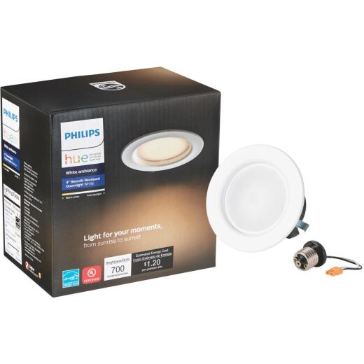 Philips Hue 4 In. Retrofit IC Rated White Downlight Recessed Kit
