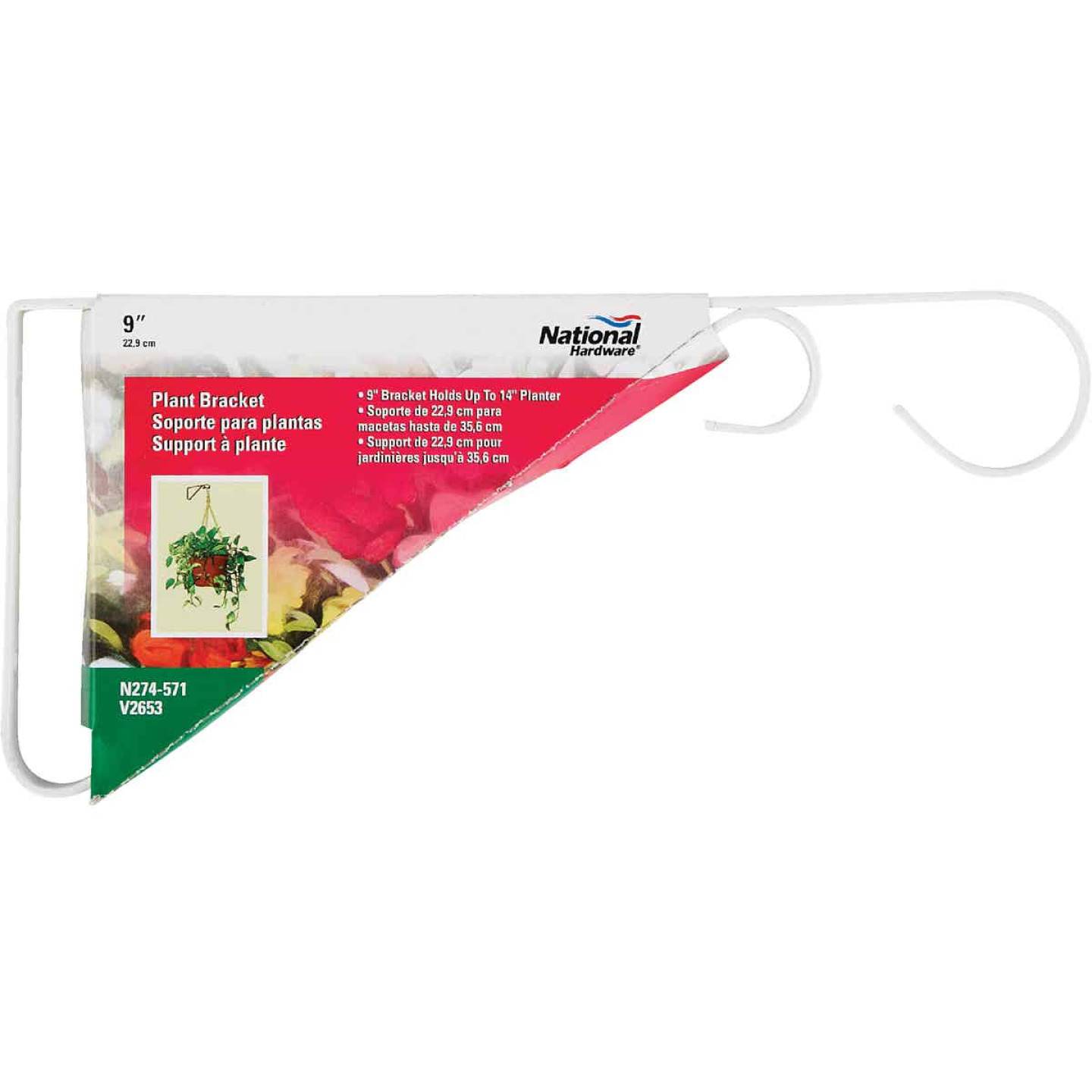 National 9 In. White Steel Hanging Plant Bracket Image 2