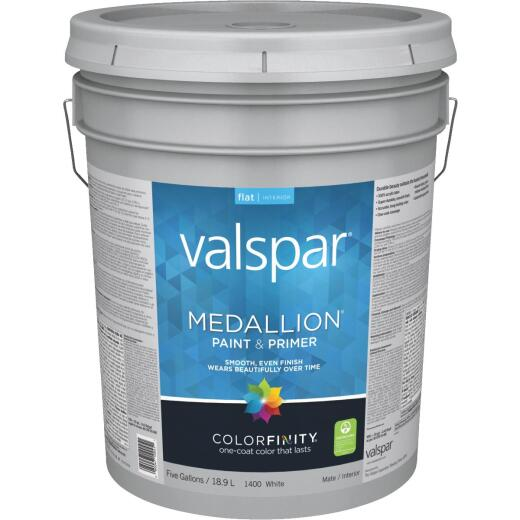 Valspar Medallion 100% Acrylic Paint & Primer Flat Interior Wall Paint, White, 5 Gal.